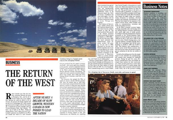 Article Preview: THE RETURN OF THE WEST, September 1989 | Maclean's