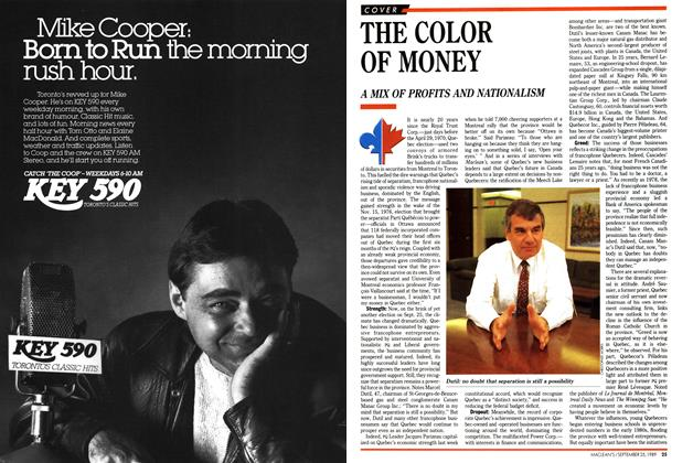 Article Preview: THE COLOR OF MONEY, September 1989 | Maclean's