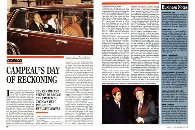 Article Preview: CAMPEAU'S DAY OF RECKONING, September 1989 | Maclean's