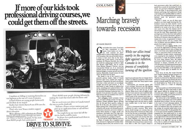 Article Preview: Marching bravely towards recession, October 1989 | Maclean's