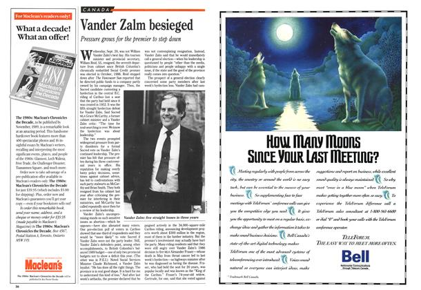 Article Preview: Vander Zalm besieged, October 1989 | Maclean's