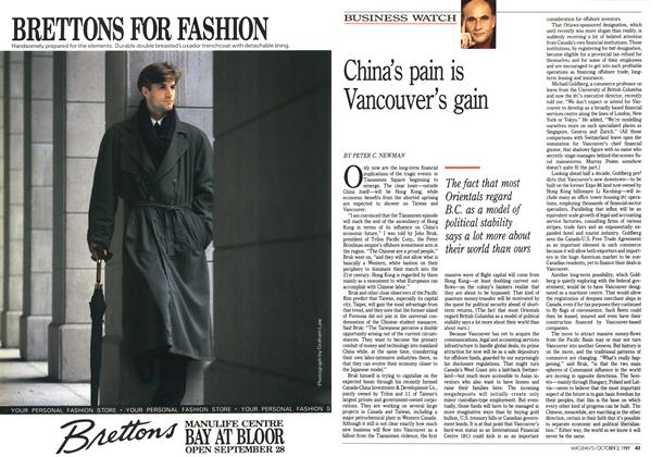 Article Preview: China's pain is Vancouver's gain, October 1989 | Maclean's