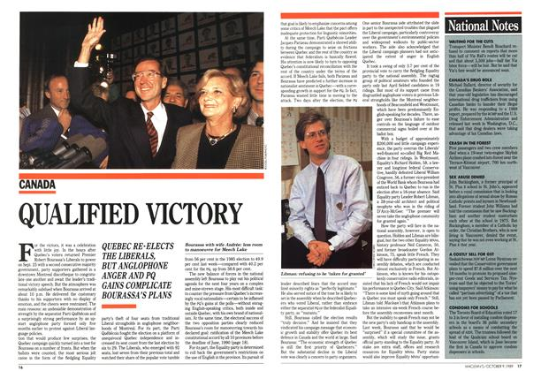 Article Preview: QUALIFIED VICTORY, October 1989 | Maclean's