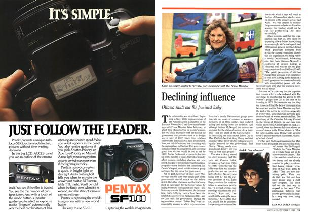 Article Preview: Declining influence, October 1989 | Maclean's