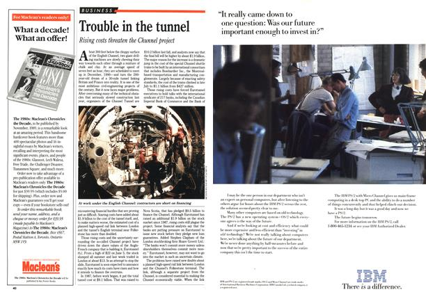 Article Preview: Trouble in the tunnel, October 1989 | Maclean's