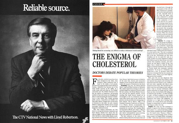 Article Preview: THE ENIGMA OF CHOLESTEROL, October 1989 | Maclean's