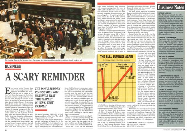Article Preview: A SCARY REMINDER, October 1989 | Maclean's