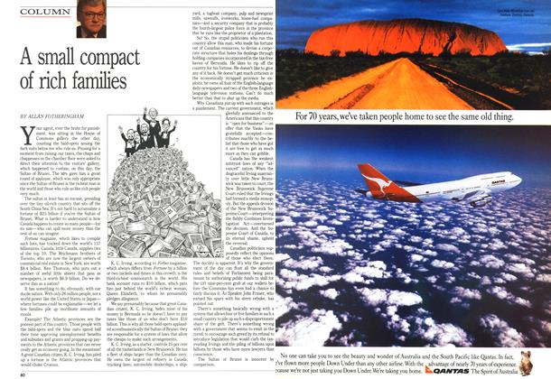 Article Preview: A small compact of rich families, October 1989 | Maclean's