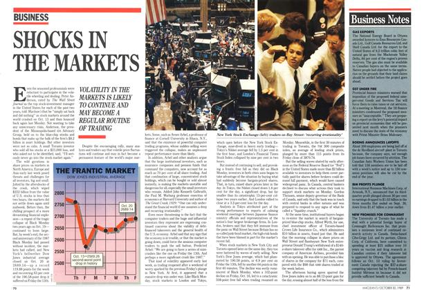 Article Preview: SHOCKS IN THE MARKETS, October 1989 | Maclean's