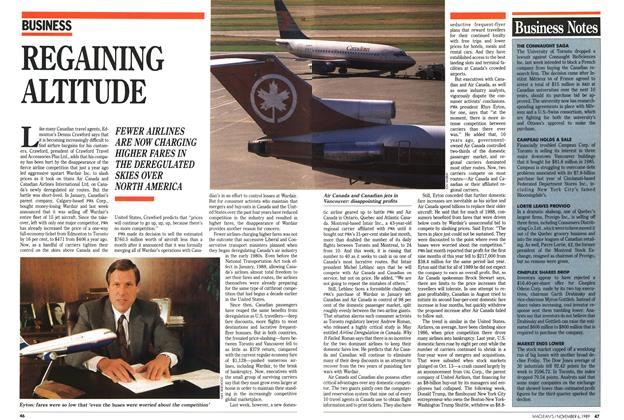 Article Preview: REGAINING ALTITUDE, November 1989 | Maclean's