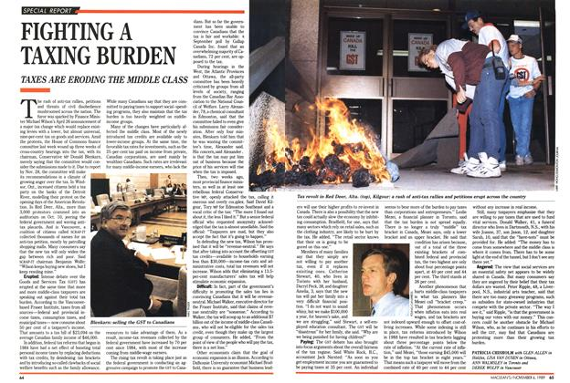 Article Preview: FIGHTING A TAXING BURDEN, November 1989 | Maclean's
