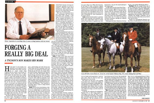 Article Preview: FORGING A REALLY BIG DEAL, November 1989 | Maclean's