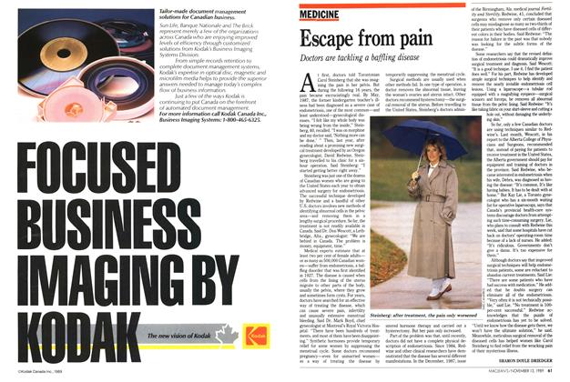 Article Preview: Escape from pain, November 1989 | Maclean's