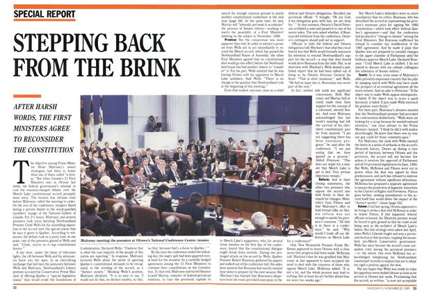 Article Preview: STEPPING BACK FROM THE BRINK, November 1989 | Maclean's