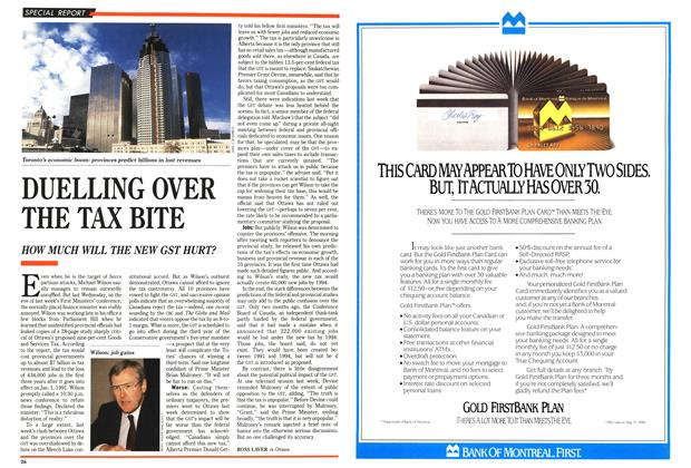 Article Preview: DUELLING OVER THE TAX BITE, November 1989 | Maclean's