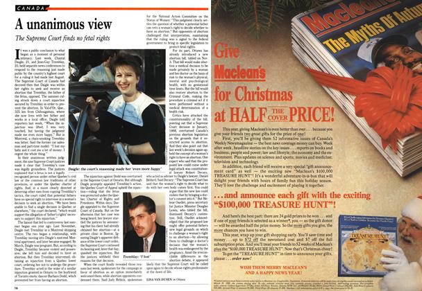 Article Preview: A unanimous view, November 1989 | Maclean's