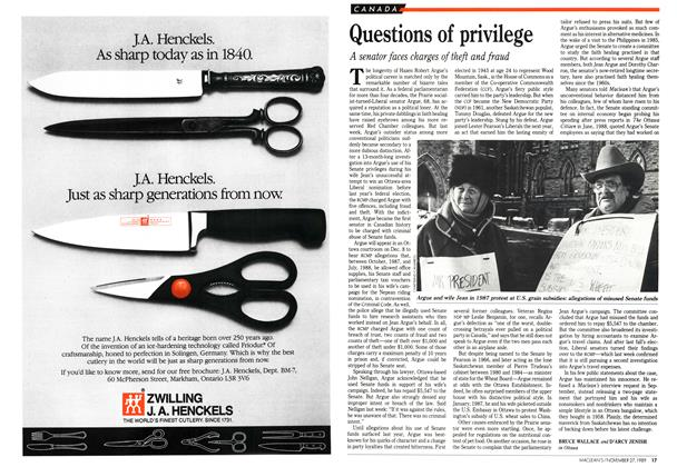 Article Preview: Questions of privilege, November 1989 | Maclean's