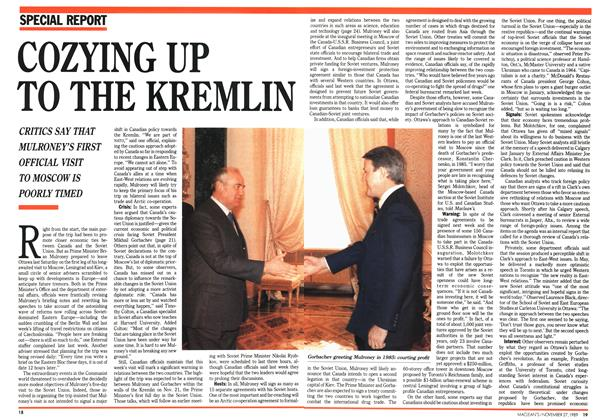 Article Preview: COZYING UP TO THE KREMLIN, November 1989 | Maclean's