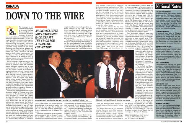Article Preview: DOWN TO THE WIRE, December 1989 | Maclean's