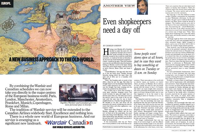 Article Preview: Even shopkeepers need a day off, December 1989 | Maclean's
