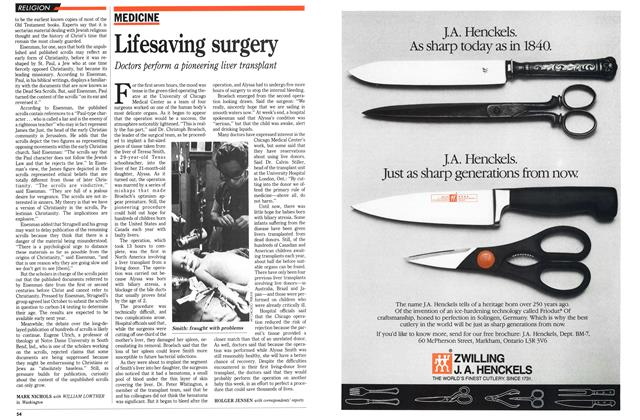 Article Preview: Lifesaving surgery, December 1989 | Maclean's