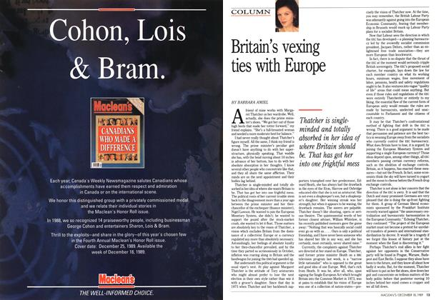 Article Preview: Britain's vexing ties with Europe, December 1989   Maclean's