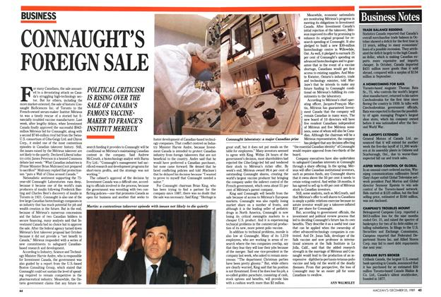 Article Preview: CONNAUGHT'S FOREIGN SALE, December 1989 | Maclean's