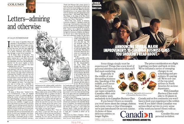 Article Preview: Letters—admiring and otherwise, December 1989 | Maclean's