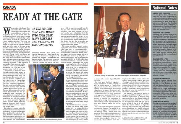 Article Preview: READY AT THE GATE, January 1990 | Maclean's