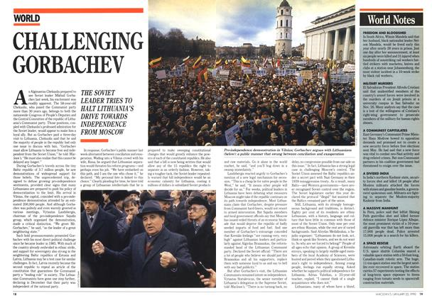 Article Preview: CHALLENGING GORBACHEV, January 1990 | Maclean's