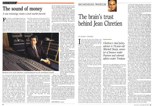 Article Preview: The sound of money, January 1990 | Maclean's