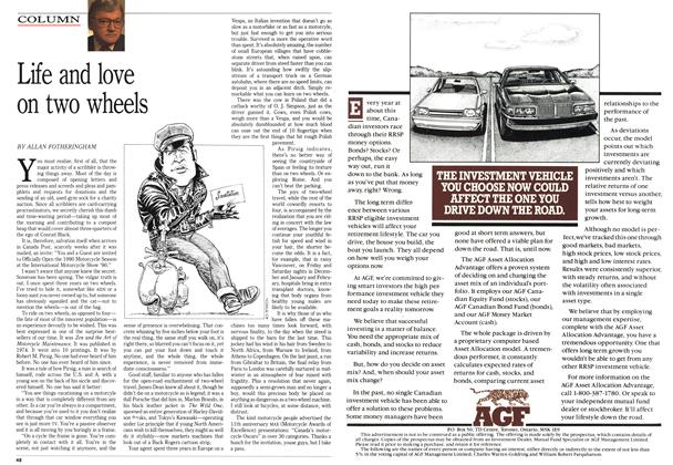 Article Preview: Life and love on two wheels, January 1990 | Maclean's