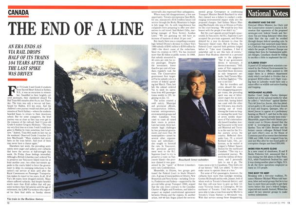 Article Preview: THE END OF A LINE, January 1990 | Maclean's