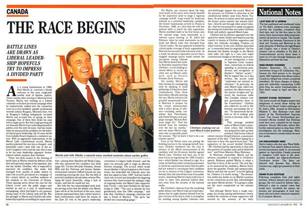 Article Preview: THE RACE BEGINS, January 1990 | Maclean's
