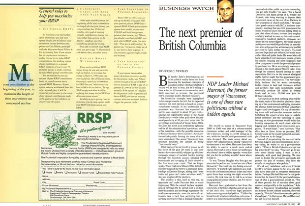Article Preview: The next premier of British Columbia, January 1990 | Maclean's