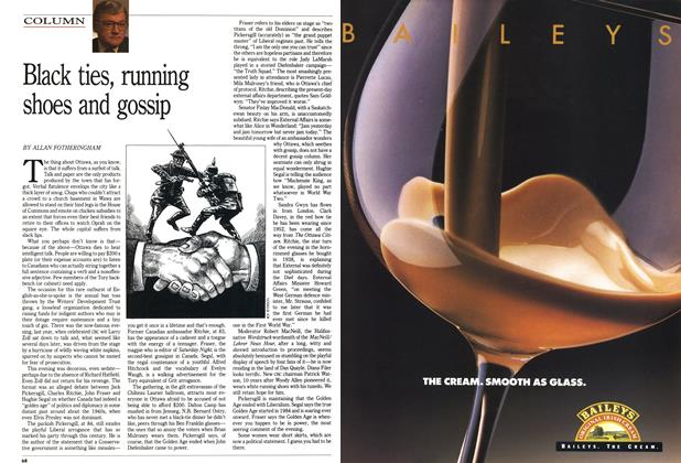 Article Preview: Black ties, running shoes and gossip, February 1990 | Maclean's