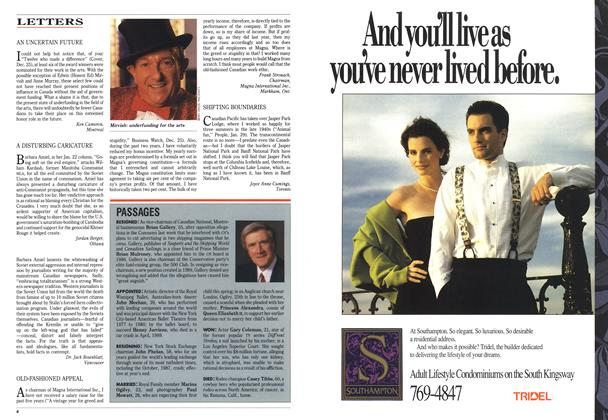 Article Preview: LETTERS, February 1990 | Maclean's