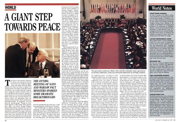 Article Preview: A GIANT STEP TOWARDS PEACE, February 1990 | Maclean's
