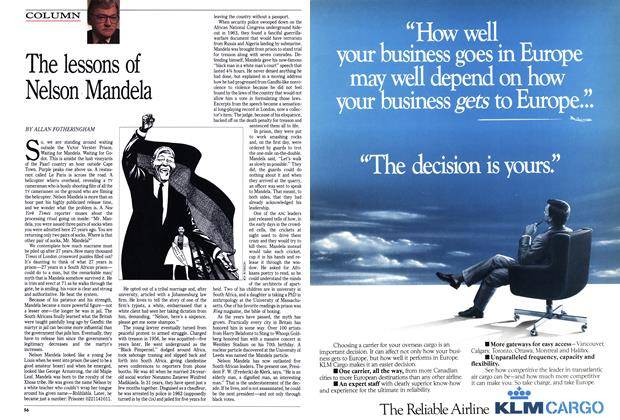 Article Preview: The lessons of Nelson Mandela, February 1990   Maclean's