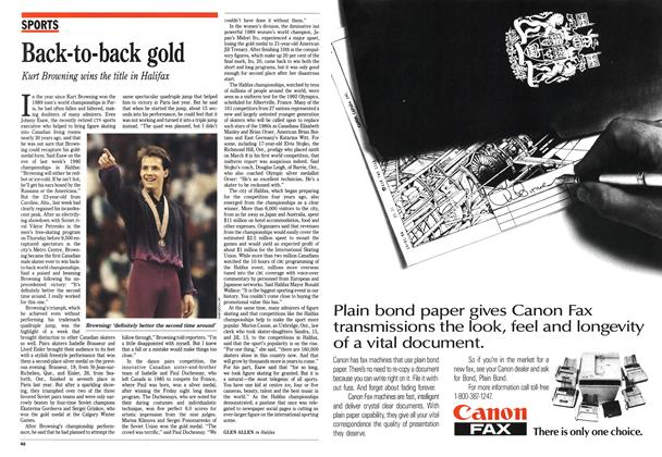 Article Preview: Back-to-back gold, March 1990 | Maclean's