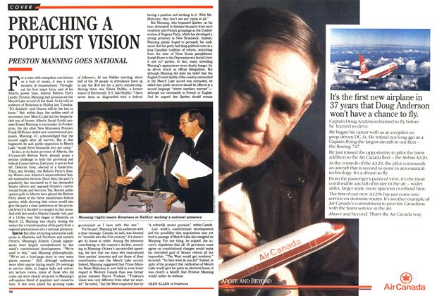 Article Preview: PREACHING A POPULIST VISION, April 1990 | Maclean's