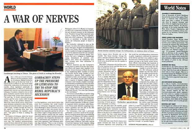 Article Preview: A WAR OF NERVES, April 1990 | Maclean's
