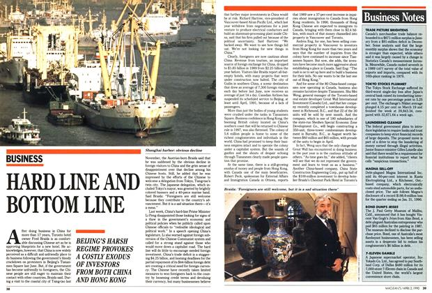Article Preview: HARD LINE AND BOTTOM LINE, April 1990 | Maclean's