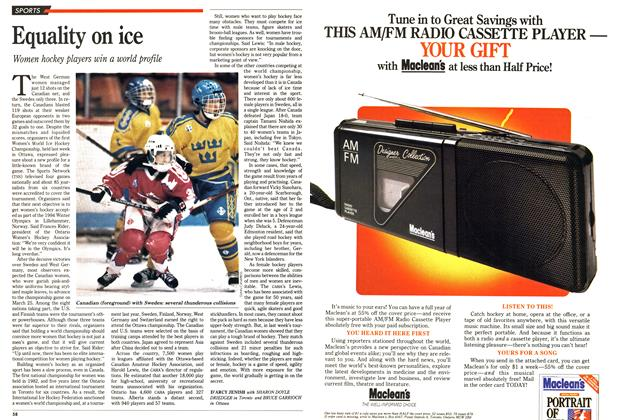 Article Preview: Equality on ice, April 1990 | Maclean's