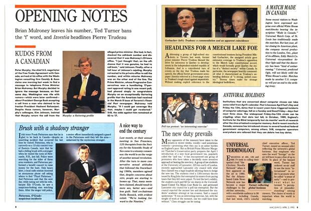 Article Preview: OPENING NOTES, April 1990 | Maclean's