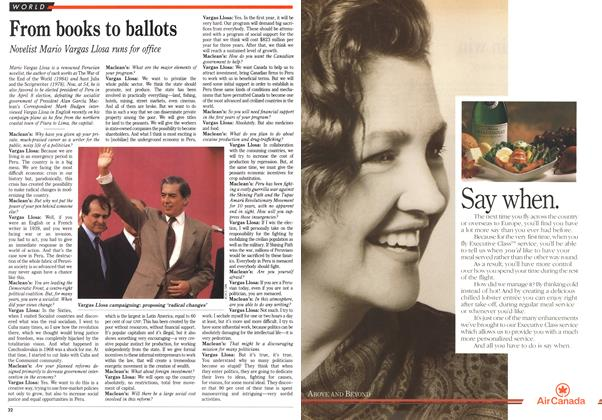 Article Preview: From books to ballots, April 1990 | Maclean's