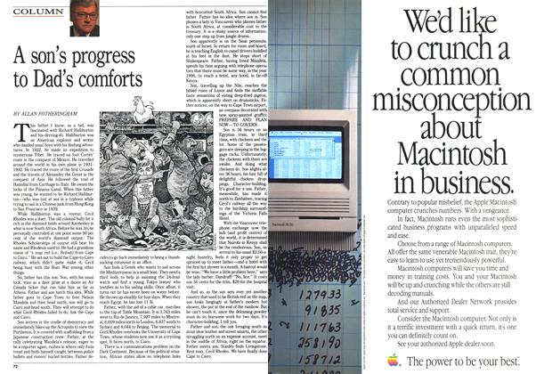 Article Preview: A son's progress to Dad's comforts, April 1990 | Maclean's