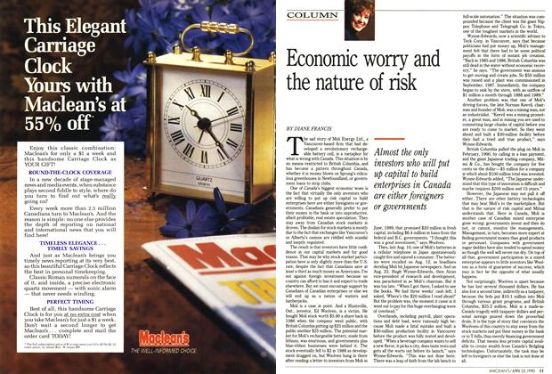 Article Preview: Economic worry and the nature of risk, April 1990 | Maclean's
