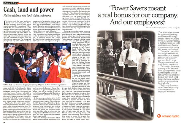 Article Preview: Cash, land and power, April 1990 | Maclean's