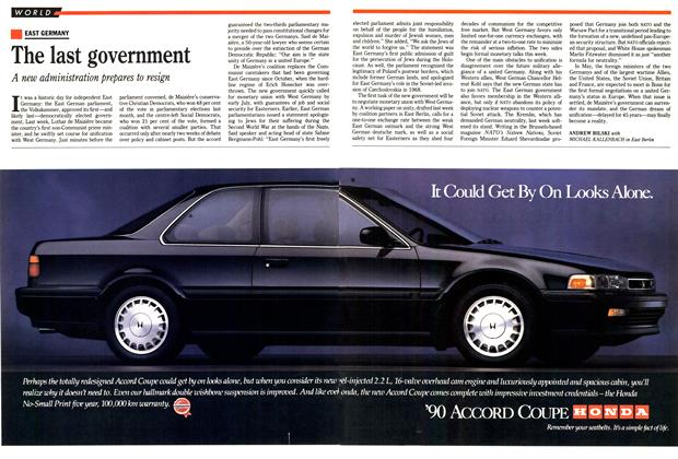 Article Preview: The last government, April 1990 | Maclean's